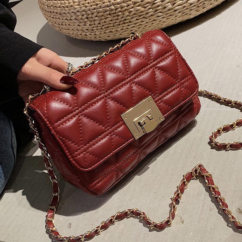 2020 neue Frauen Taschen Umhängetaschen PU-Leder Luxus-Designer-Handtaschen Web-Berühmtheit Textur Kette Diamantgitter Tasche