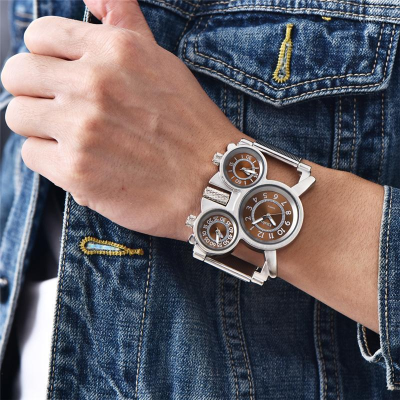 Oulm Mesh Steel 1167 Modell Herrenuhren 3 Farben Zeitzone Einzigartige Männchen Quarz Uhr Casual Sports Männer Armbanduhr Reloj Hombre1 Armbanduhren