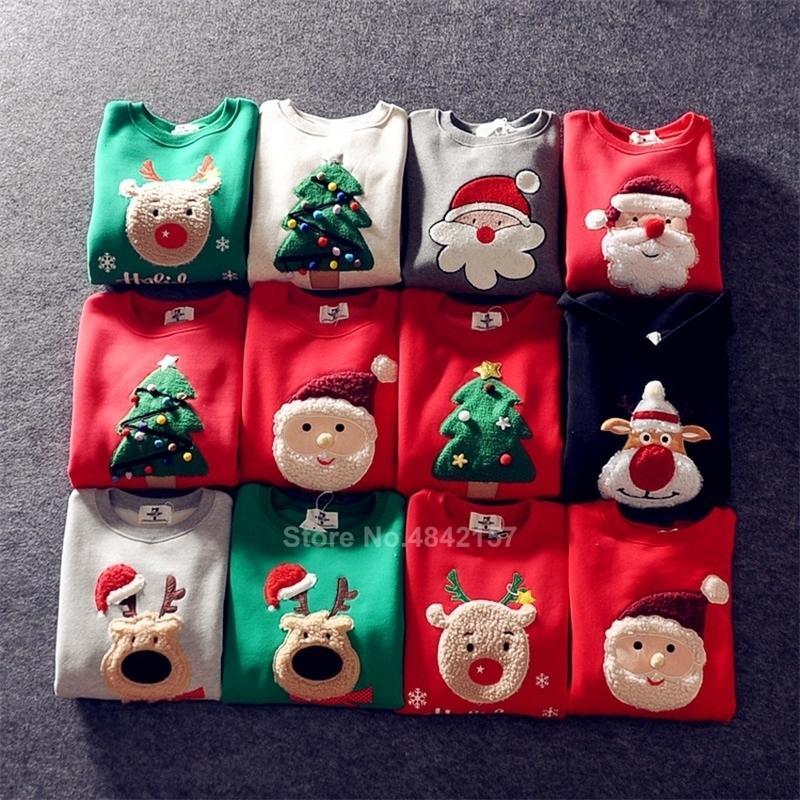 19Couleurs 2021 Nouvel An Famille Pulls de Noël de Noël Xmas Pajamas Santa Claus Elk Broderie Adulte Enfants Sweatshirt Cadeau 201128