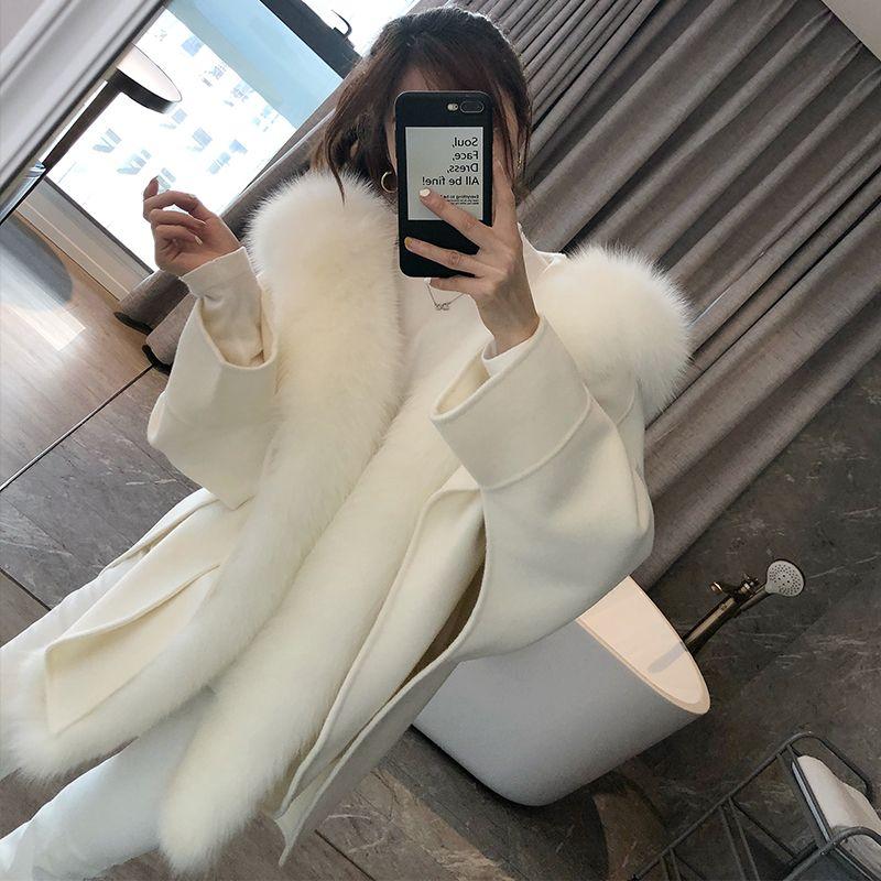 OFTBUY 2020 Casual giacca invernale Donne reale naturale collo di pelliccia volpe cachemire misto lana tuta sportiva del cappotto Streetwear allentato Mantello
