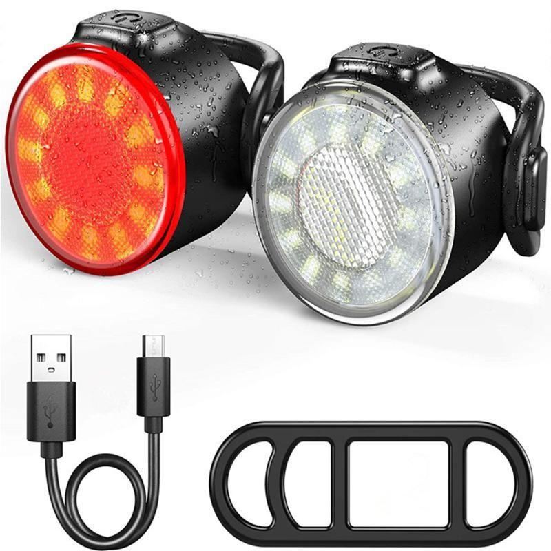 COB Bike Bicycle Taillight Safety Warning Headlight Biking USB Rechargeable Waterproof PortableDustproof Cycling Parts