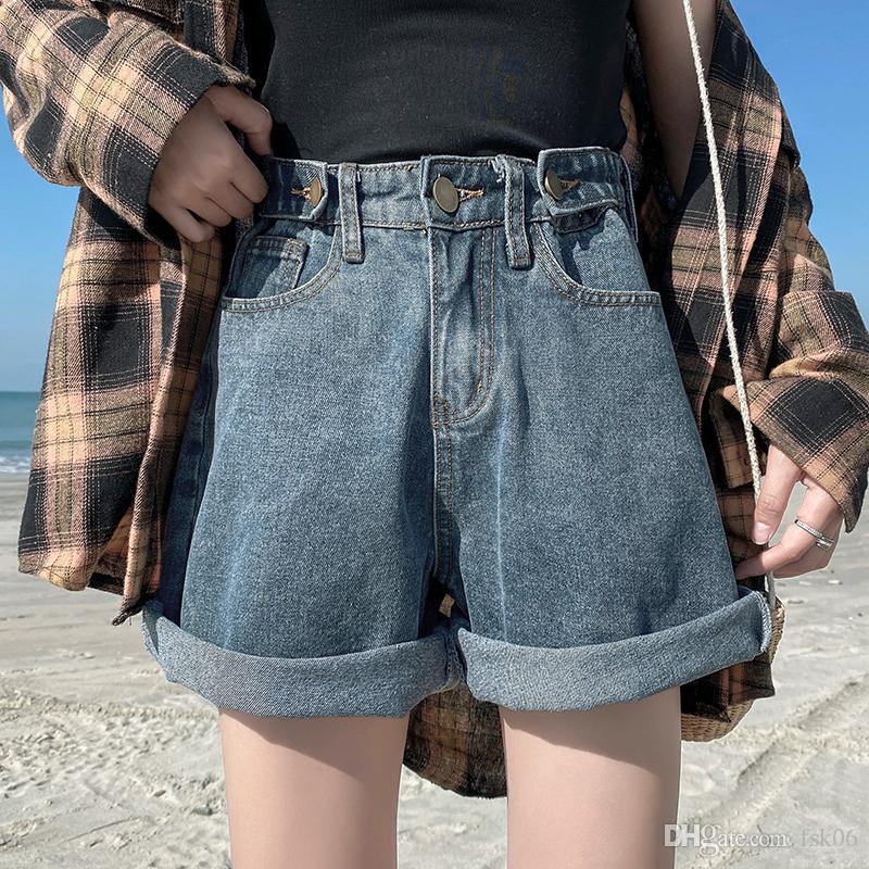 Azul Corto Femenino altura de la cintura de los pantalones vaqueros Mujer Plus Tamaño Denim Spodenki DAMSKIE de primavera y verano pantalones vaqueros de las mujeres