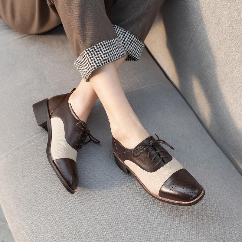 2020 NUEVO estilo británico zapatos casuales de mujer de cuero mosaico de cuero bajo encaje de cordones de negocios de negocios ocupacionales Zapatos de mujer1
