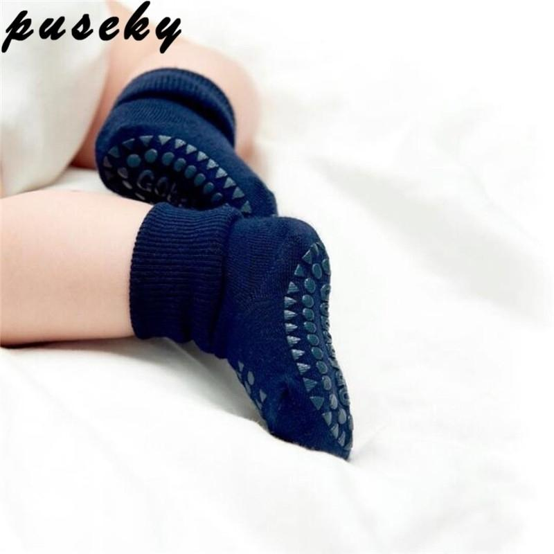 Pushy Historieta Unisex Unisex Bebé recién nacido Calcetines antideslizantes Calcetines de suela de goma para niñas / niños Algodón de algodón Barco de bote de calcetines completos de invierno 0-3Y Y201001
