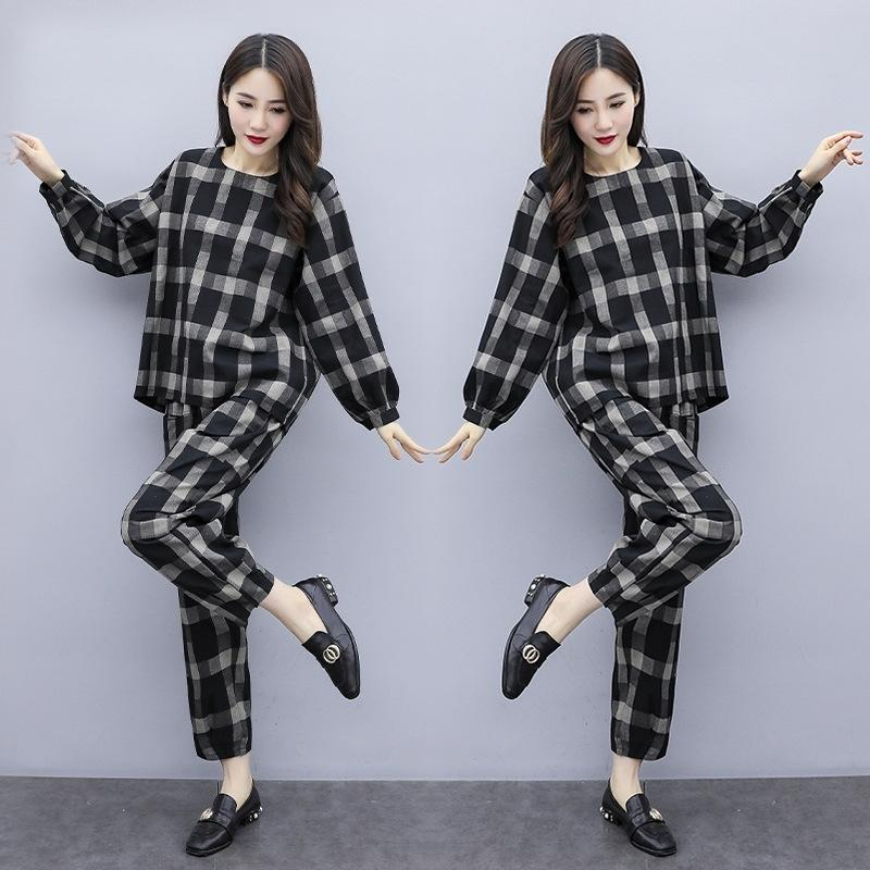 Y5iEn 2020 slimming age-reducing Korean New large loose version size fashion temperament CoatAutumn Top long sleeve top casual two-piece set