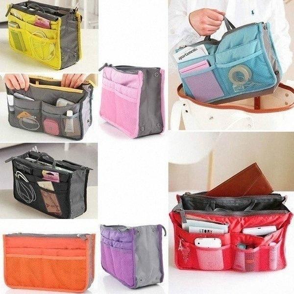 Шкаф Организатор сумка для хранения женщин Многофункциональный Путешествия Косметический макияж Вставьте мешок туалетных Organizer хранение сумки кошелек t9WH #