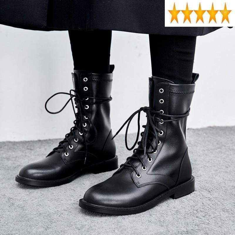 Женская подкладка зимних кружева руна СТРОЙ СТРАХЫЕ ЛОЖНЫЕ BOOTS BOOTS HIGH TOP Квартиры Британский мото-байкер натуральная кожаная обувь