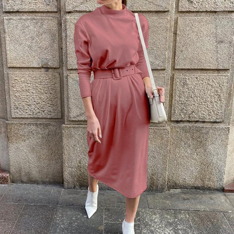 Katı Sıcak Uzun Kollu Midi Elbise Kadın Düz Kadın Örme Elbise Bahar Sonbahar Chic Streetwear Kemer Bayanlar Çalışma 20201