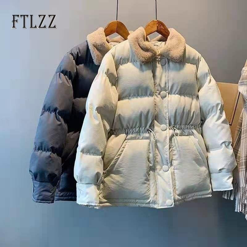 Female chaqueta acolchada corta otoño invierno nuevo slim turn-down collar abrigos casuales mujeres amarillo Outwear parkas mujer ropa 201027