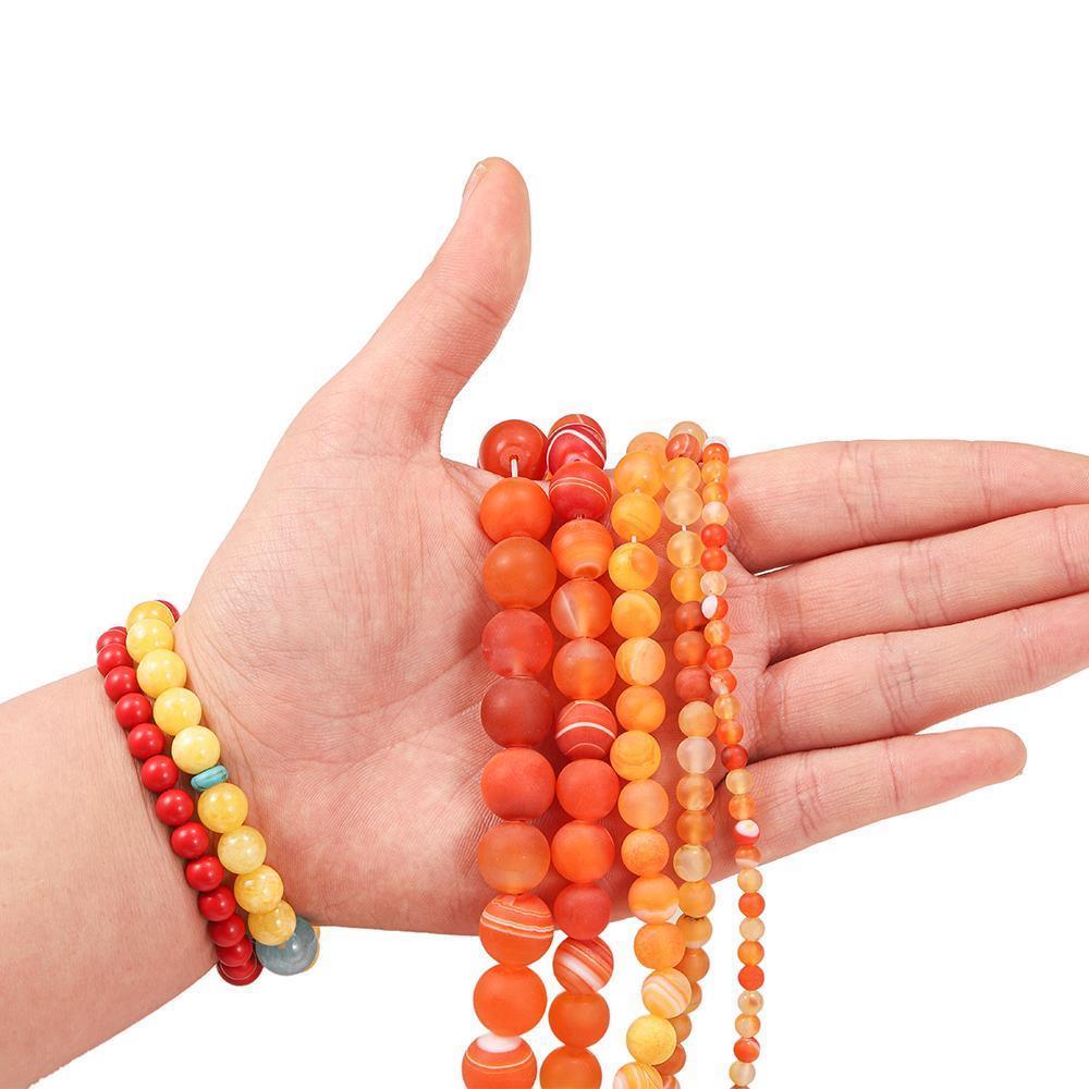 1 Istrand lote 4 6 8 10 12mm laranja matt pedra natural listra ágatas redondas grânulos soltos para bracelete DIY makings de jóias suprimentos h jllctg