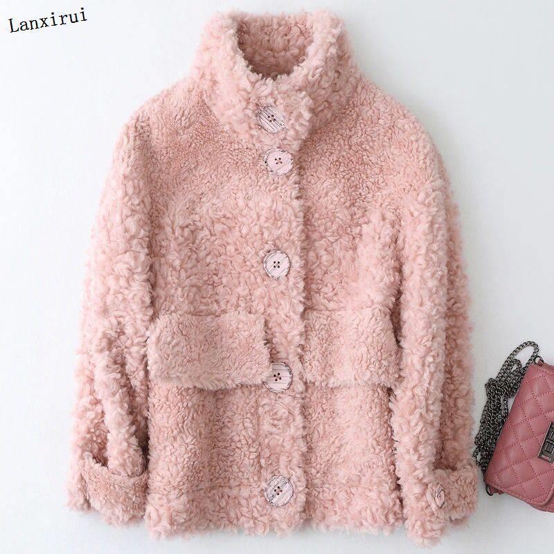 100% Laine réel Manteau de fourrure de mouton Shearling automne vêtements d'hiver Vestes femmes coréennes Abrigo Mujer
