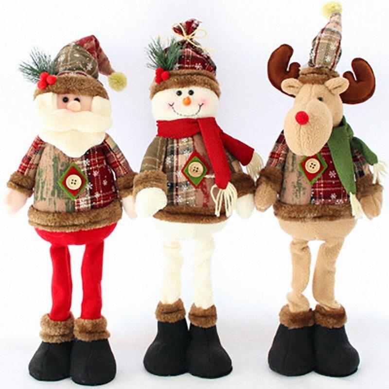 Décorations d'arbre de Noël Favoris Favoris Festival Cadeau Ornement Décorations de Noël Santa Claus Elk Snowman Dolls Jouet K3NB #