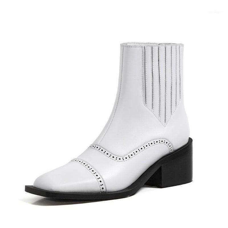 2021 New Women Thick Heel Short Boots Genuine Leather Mid Heel Boots Winter Women Velvet Square Head1