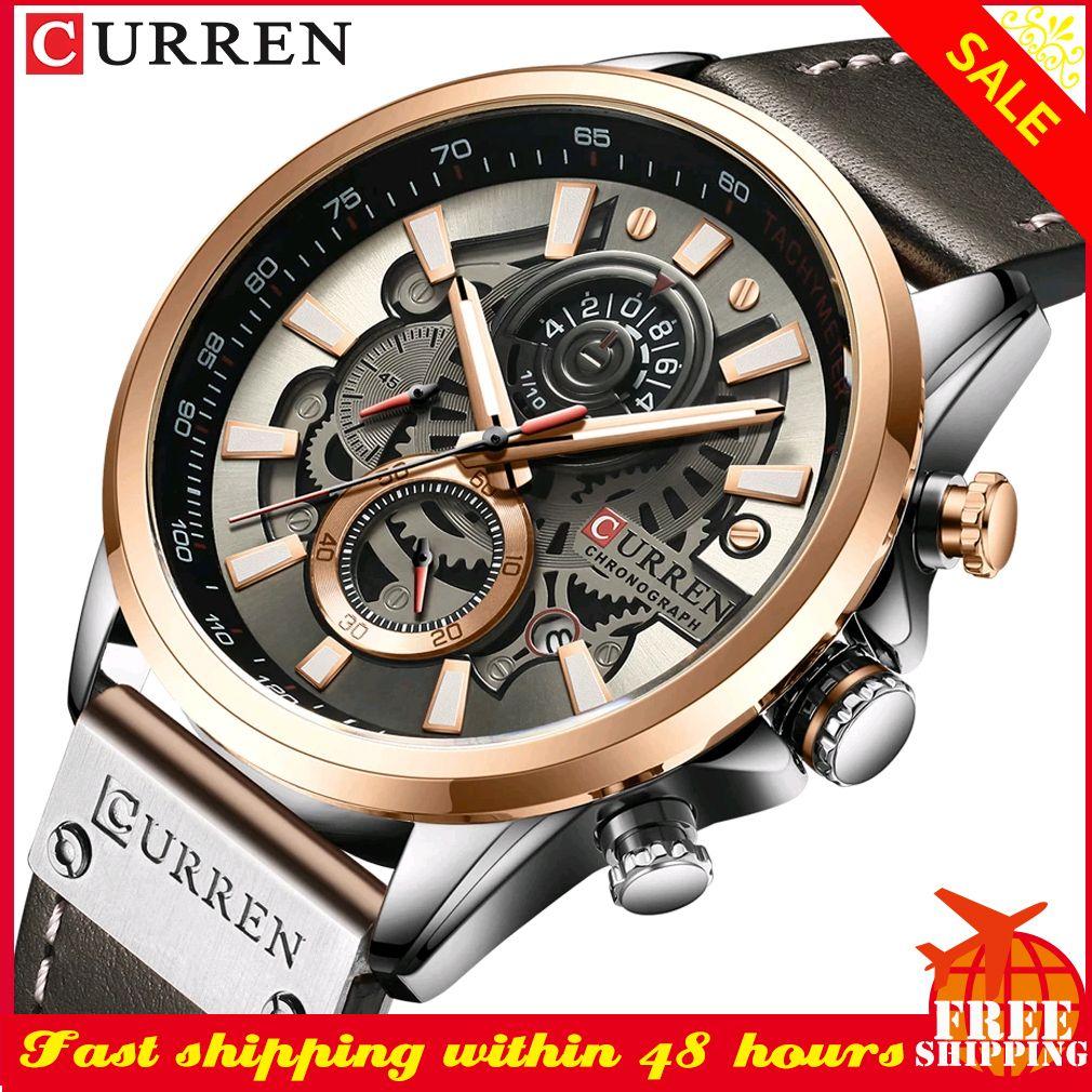 CURREN Luxury Men Watch Fashion Creative Design Dial Man Clock Military Waterproof Leather Mens Wristwatch Relogio MasculinoQ0108