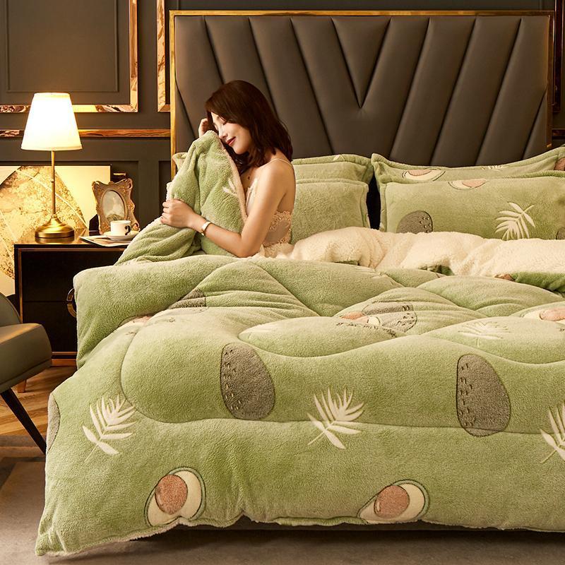 Comforters set molto caldo inverno consolatore consolatore addensare trapunta flower neve velluto cashmere pile ab laterale avocado rosa tessile casa full 200 * 230
