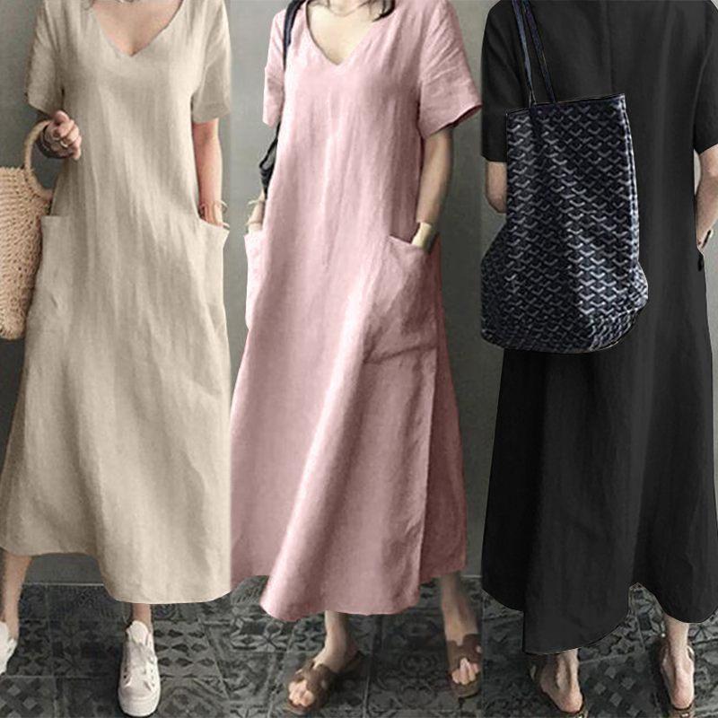 Mulheres Longa Vestido Solto Camisa Sólida Vestidos Outono Vintage Vintage Retro Linho Bolsos Soltos Vestidos Longa Manga Robe Maxi S-5xl