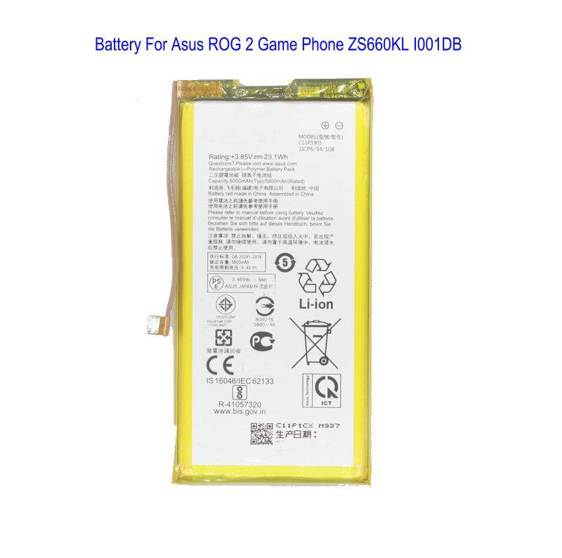 1X 6000mAh /23.1Wh C11P1901 هاتف استبدال البطارية ل ASUS ROG 2 لعبة Phone ZS660KL بطاريات I001DB