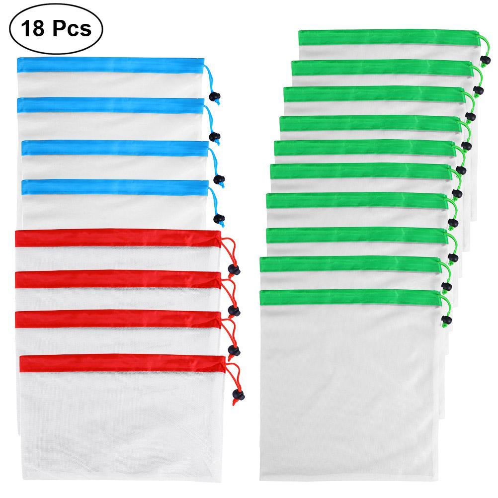 Cuerda bolsas de malla 18 Paquete superior blanca vegetales malla de poliéster fruta de la cocina de almacenamiento Bolsas de Productos reutilizable Negro Peso ligero