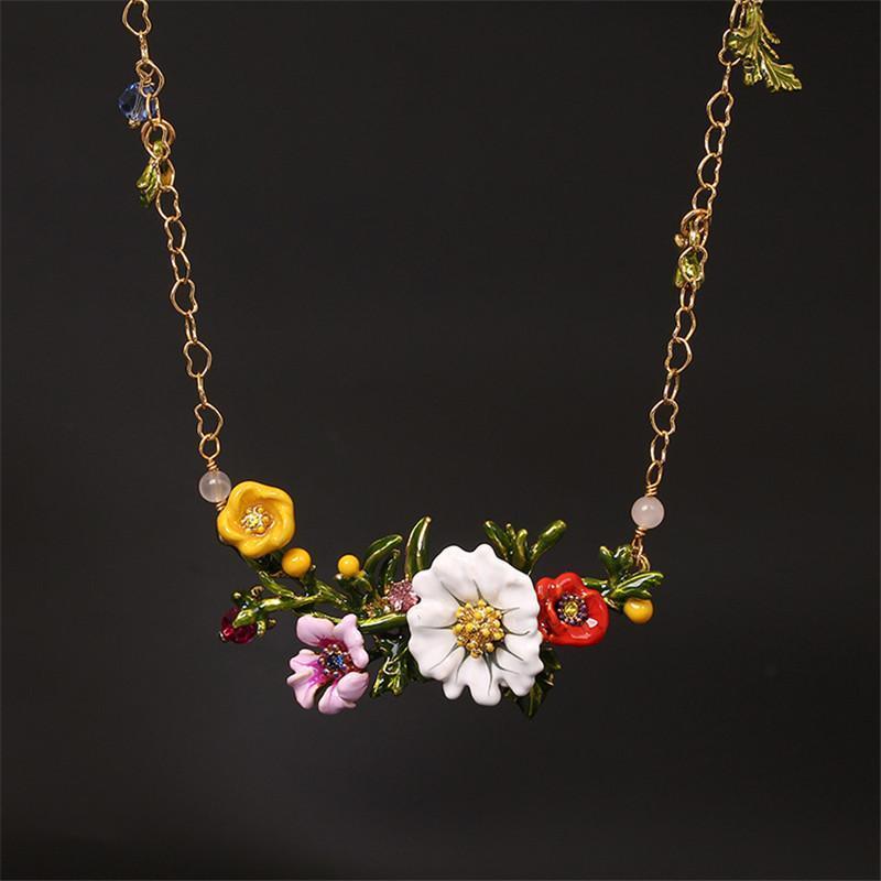 BOHO Tarzı Emaye Sır Yaprak Papatya Çiçek Kolye Kolye Takı Kadınlar Için Parti Düğün Chic Hediye Kısa Altın Gerdanlık Yaka