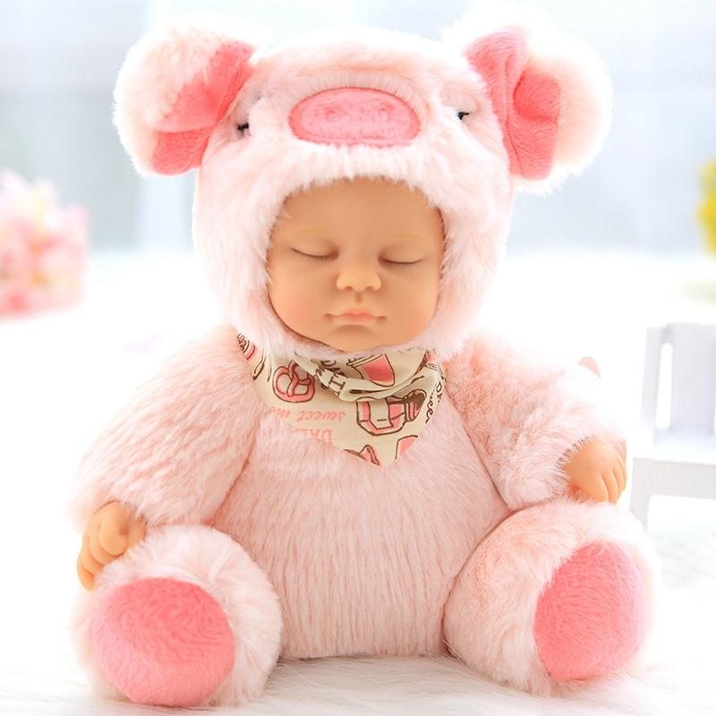 new baby plush baby doll Stuffed Toys Baby Doll Newborn Toy Kids Accompany Sleep Cute PVC Face Plush Animal Doll Girl Birthday Gift