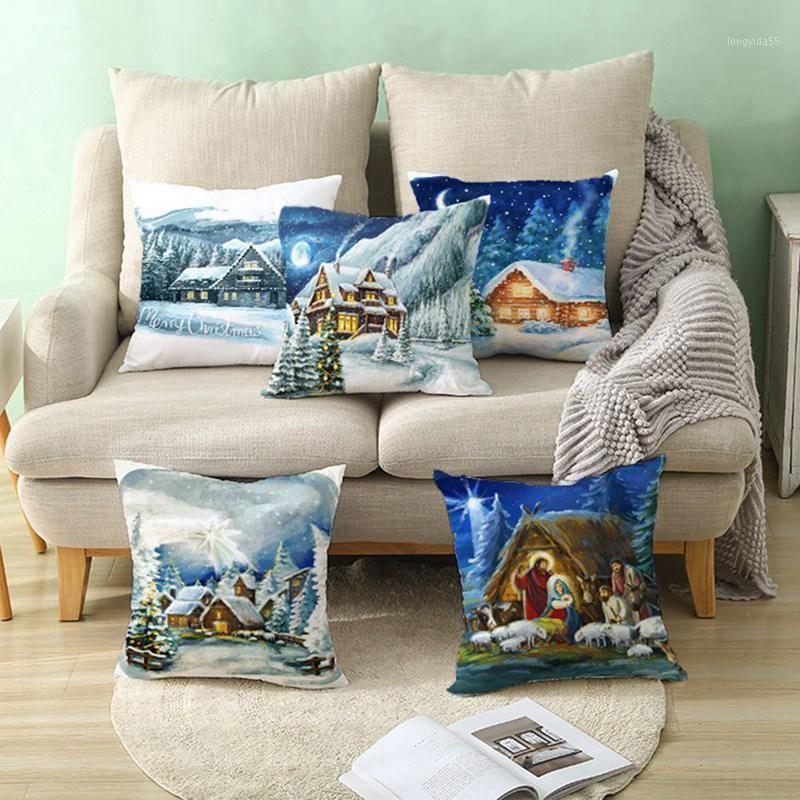 Neue Weihnachtskissenbezug Baum Haus Schnee Home Schlafzimmer Sofa Holiday Geschenk Leinen Gedruckt Dekor Wurfkissenbezüge 45x45cm1