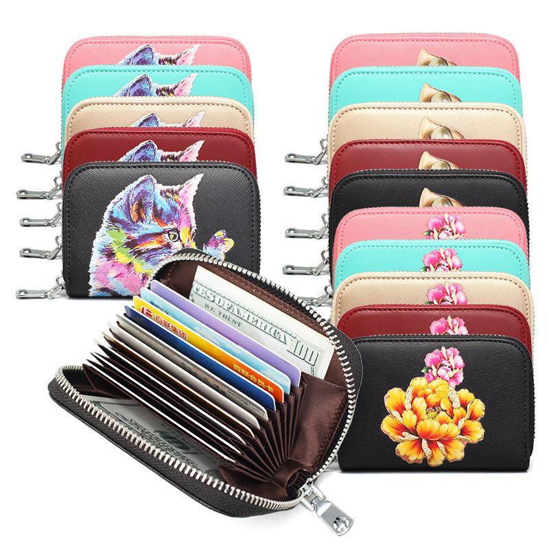 HBP 6 Hight Qualidade de moda mulheres coloridas flor e gato titular cartão de crédito RFID caso cartão de couro real mini carteira