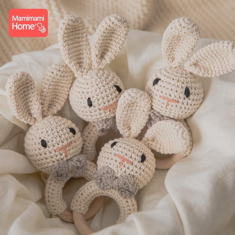 1Pc Baby Teether Wooden Crochet Rattle Toy BPA Free Wood Rodent Rabbit Rattle Baby Mobile Play Gym Newborn Eonal Toy Gifts