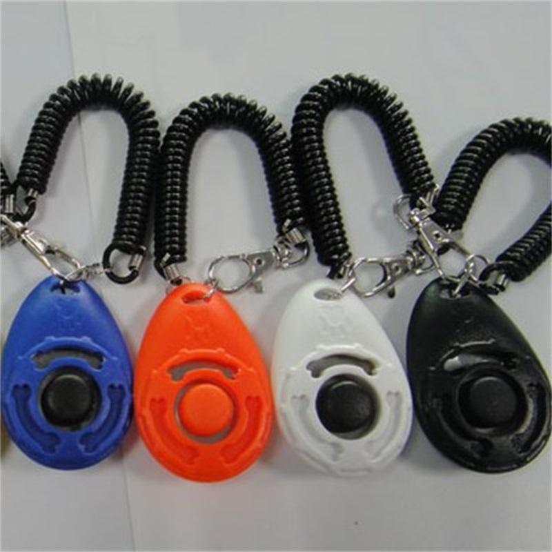 ABS الكلب التدريب الفرس أجيليتي المساعدات المعصم الحبل 7 ألوان مطاطا مفتاح سلسلة الحيوانات الأليفة التدريس أداة لوازم زر انقر فوق sounder 2 8SN M2