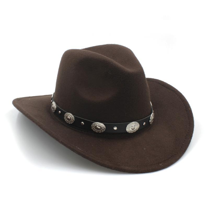 100% lana Womem Uomini Cappello da cowboy Occidentale Con Tesa larga Punk Belt Riverso protezione di jazz con il cuoio Toca Gentleman Sombrero Cap 23