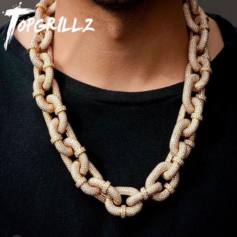 Topgrillz 17mm Miami Chaîne Cuban Collier avec carabiner glacier de mousqueton en micro pavé cubique zircone zirconia hip hop bijoux pour cadeau 0927