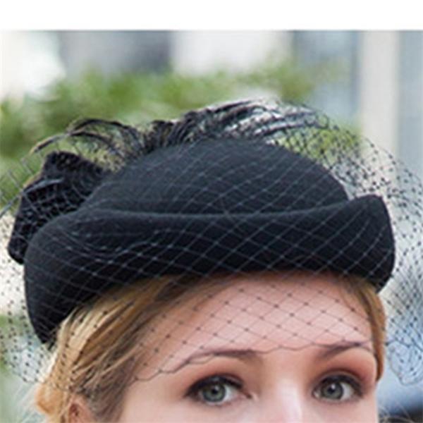 100% lana Fascinator Inverno Elegante Donne Cappellino a tamburello feltro nero signore rosse nozze Beret Cappelli Bowknot Kentucky Derby Fedoras Y1105