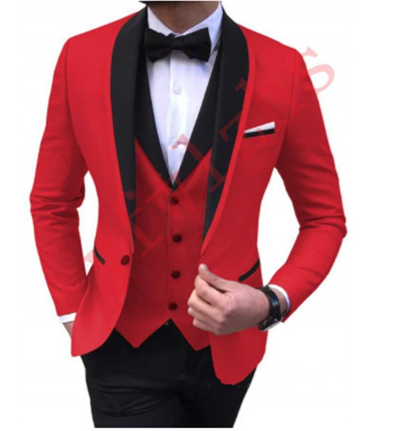 Klasyczny ślub Tuxedos CHASL Lapel Slim Fit Garnitury dla Mężczyzn Groomsmen Garnitur Trzy kawałki Prom Formalne Garnitury (Kurtka + Spodnie + Kamizelka + Krawat) W605