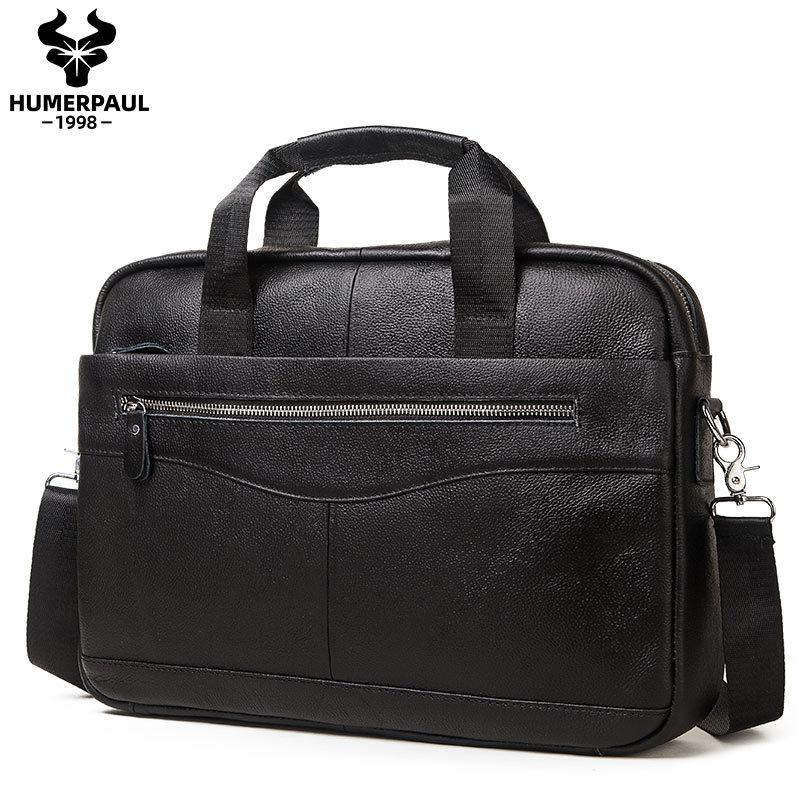 HUMERPAUL Bag Men's Genuine Leather Briefcase For 14'' laptop Top Quality Male Travel Messenger Bags Office Business Tote Q0112