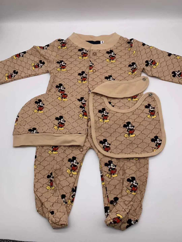 Малыш Младенческий ползунок Детская одежда Мальчики Девушки Полный рукав Мягкие комбинезоны Rompers + Hat + Bib 3шт / комплект