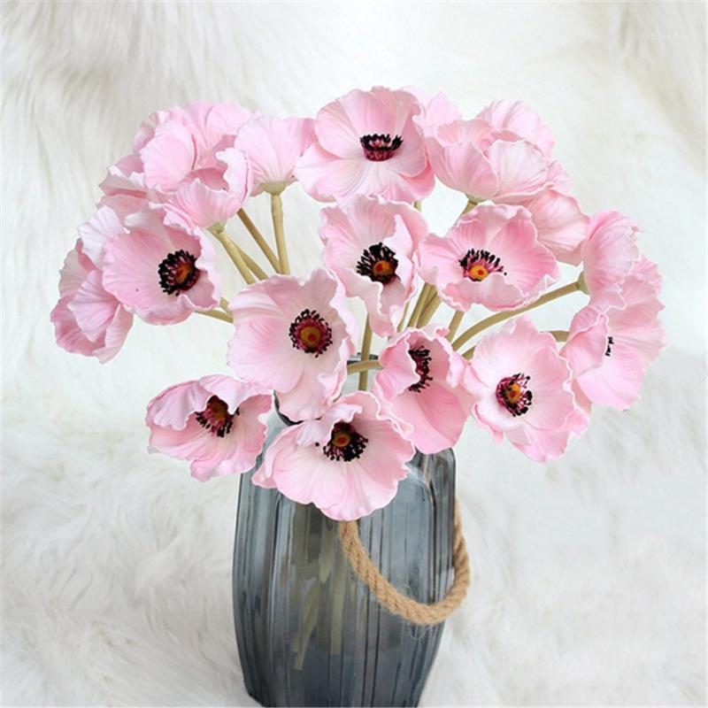 Simulación de flores artificiales de 10 cabezales Simulación de la decoración floral Paño de seda plástico Flower1
