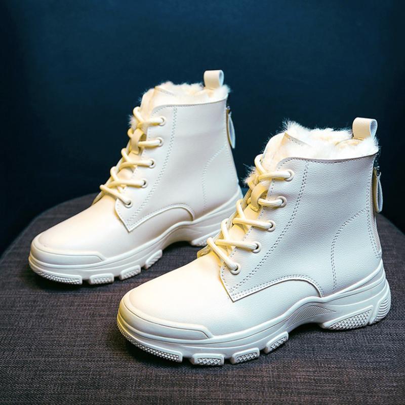 Сапоги женские искусственные кожаные снег для квартир платформы лодыжки 2021 мода увеличить теплые плюшевые зимние туфли