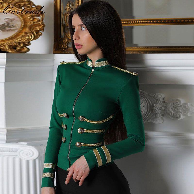 Ocstrade Women Jackets Spring Autumn Coat Party High Quality Green Plus Size Elegant Long Sleeve Bandage Jacket Bodycon 201017