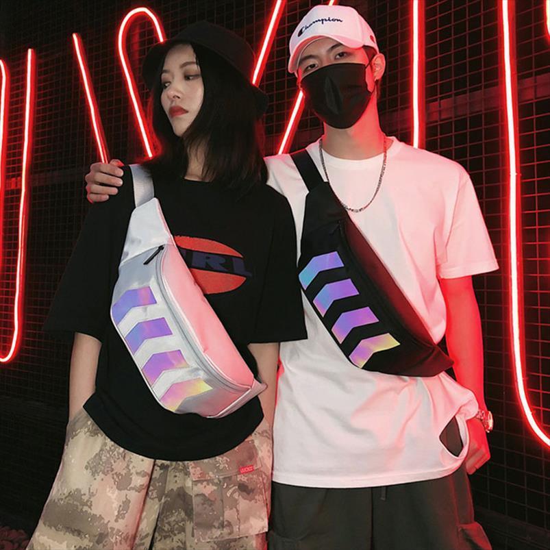 Pacotes Cinto de cintura Moda Bag Pack Fanny Hip Canvas Mensageiro Bags Peito Homem Reflexivo e Streetwear Pacote de Hop Mulher Saco Remcn
