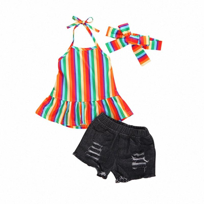0-5Y Summer Infant Baby Girls Clothes Sets Rainbow Striped Print Ruffles Sleeveless Vest+Denim Shorts Girls Casual Outfits hfvh#