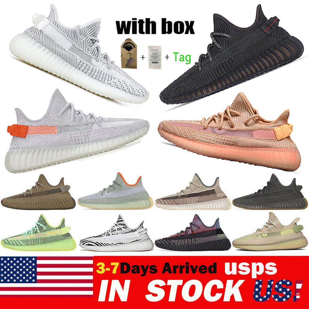 최고 품질의 Kanye West 남성 여성 운동화 yeecheil yeezreel antlia 정적 반사 얼룩말 디자이너 신발 36-48 미국에서 배송