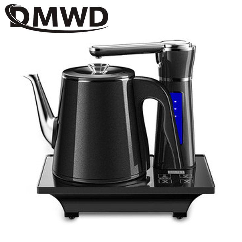 DMWD Inicio eléctrico totalmente automático de apagado automático Caldera conjunto tetera 0.8L de seguridad de acero inoxidable Dispensador de agua de bombeo samovar estufa