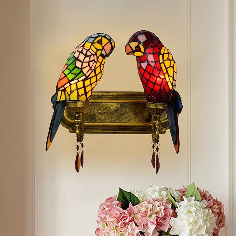 Luminárias Tiffany Stained Glass Parrot Sconce Wall Lamp Hotel Besdside Decor Art animal Corredor Varanda Escada Vintage interior