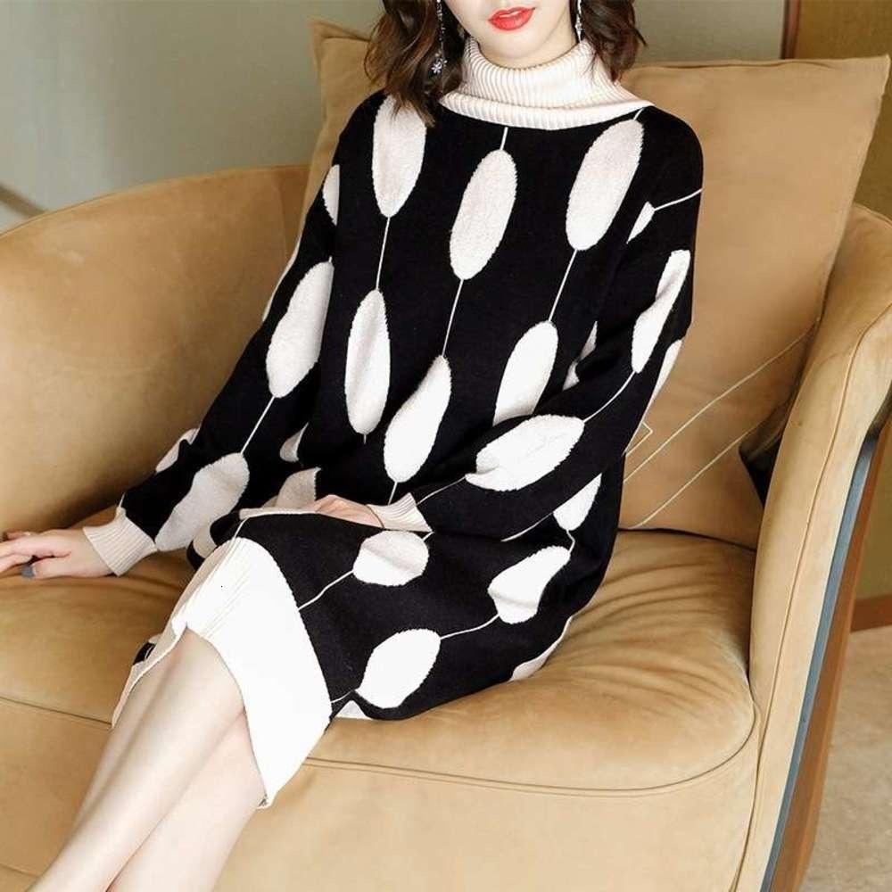 Blanco y negro Punto grande impresión de lana otoño invierno alto collar de manga larga suelta tamaño grande vestido de punto longitud media
