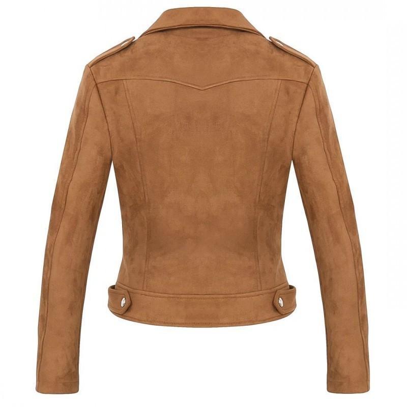 Otoño Invierno Nueva Mujer Chaqueta sólido Moda gamuza sintética collar de la solapa de la cremallera Outwear ocasional del bolsillo corta de las señoras abrigos