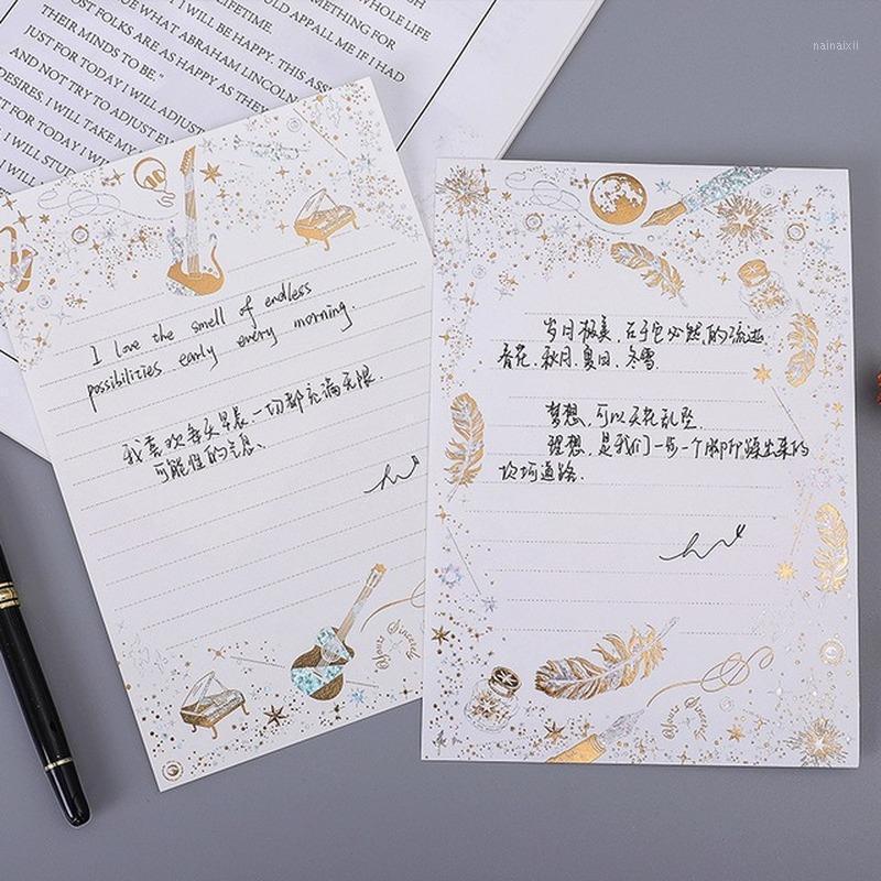 Golden brozing envelope musical amor letra topo qualidade oeste B6 No. escrevendo papel envelope estilo dourando letra pad de alta qualidade1