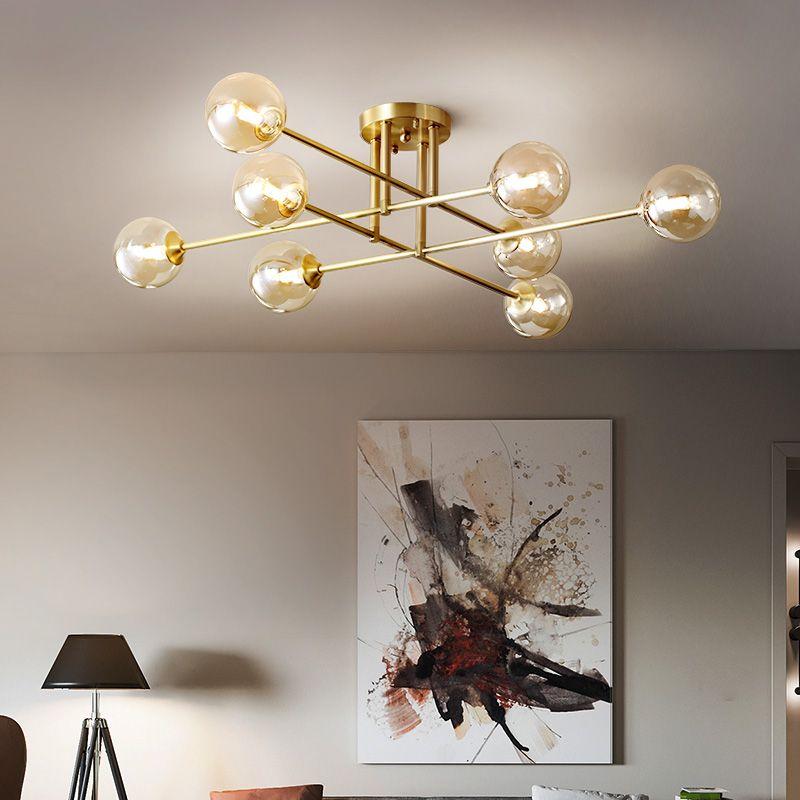 النحاس الفاخرة أدى أضواء السقف متعدد رئيس العنبر الزجاج الكرة مصباح السقف لتناول الطعام غرفة المعيشة مطبخ المنزل ديكو g9
