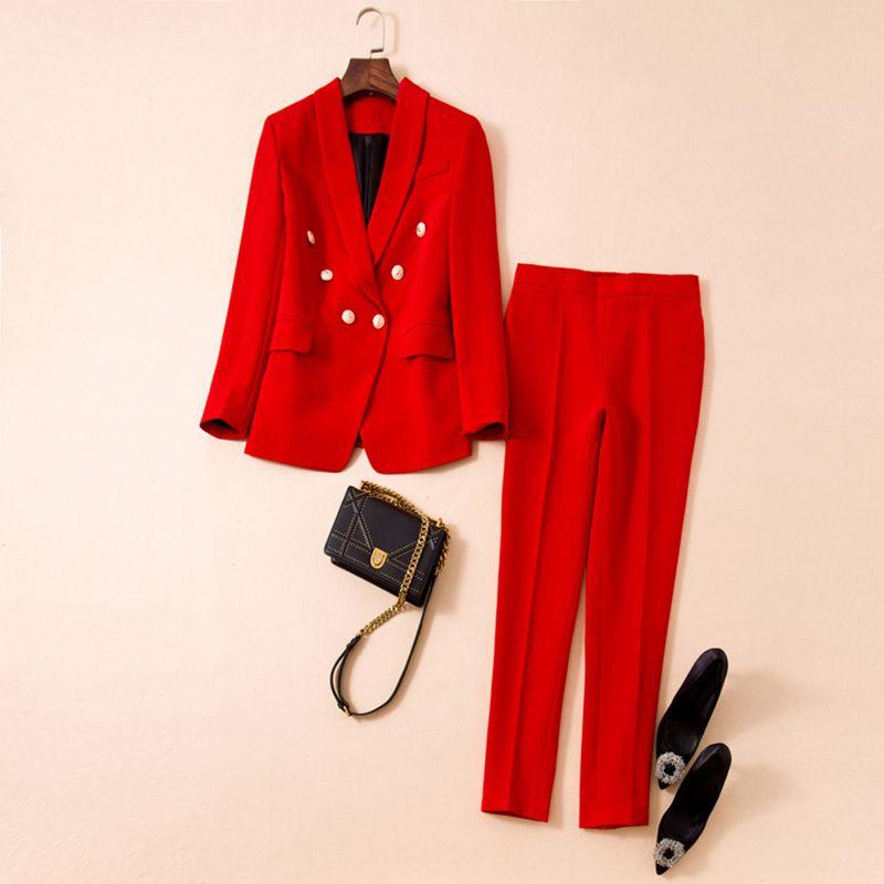 YÜKSEK KALİTE En Yeni Tasarımcı Pist Suit Set Kadın Şal Yaka Aslan Düğmeler Blazer Pantolon 201008 Suit
