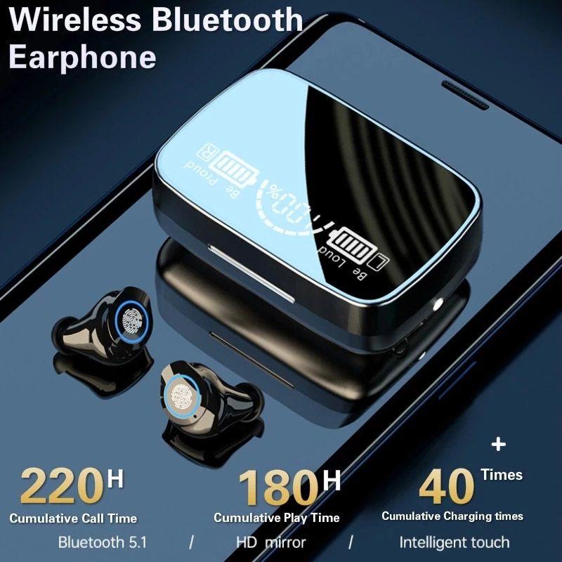 M9-17 TWS 5.1 Bluetooth Kablosuz Kulakiçi TWS IPX7 Su Geçirmez Dokunmatik Kontrol Spor Kulaklık Kulaklıklar Gürültü İptal LED Ekran