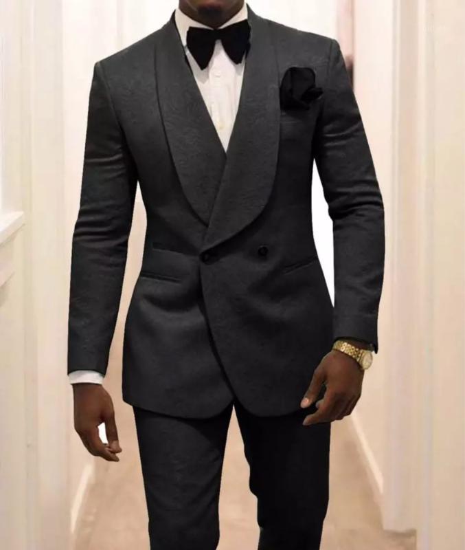 2020 Пользовательские Женихных Жених Черный Узор Groom Tuxedos Шаль Отворачивает Двухбордовые Мужские Костюмы 2 штуки Свадьба Лучший Man1