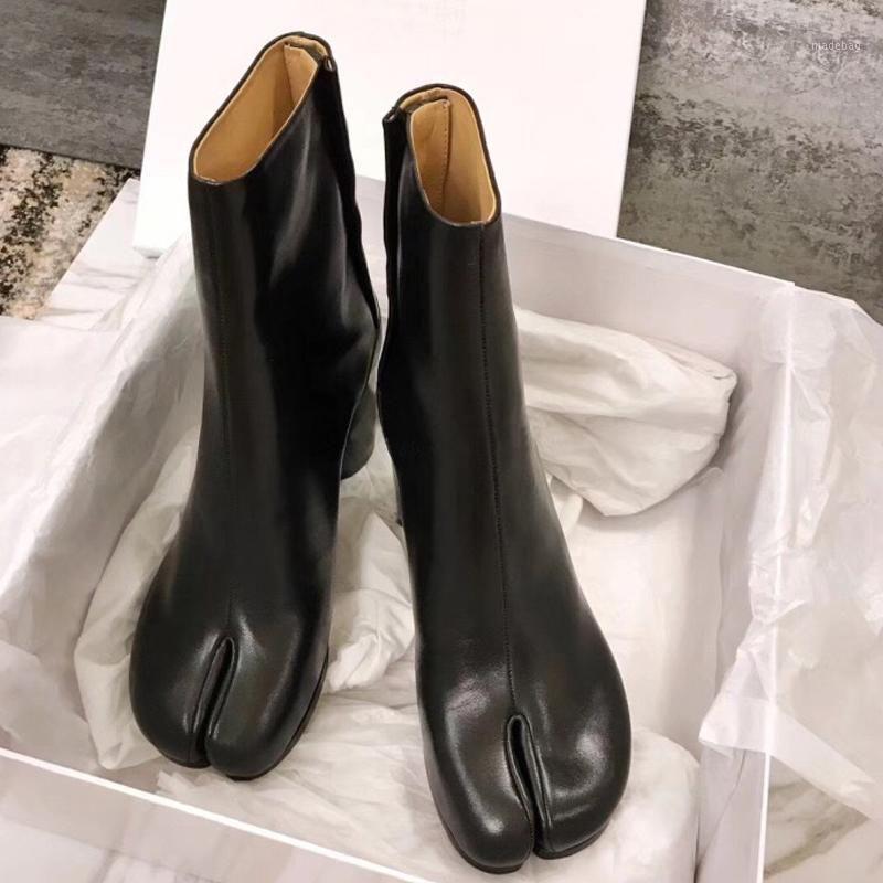 Design Tabi Stiefel Split Tehe Three Chunky High Heel Frauen Stiefel Leder Zapatos Mujer Mode Herbst Frauen Schuhe Botas Mujer1